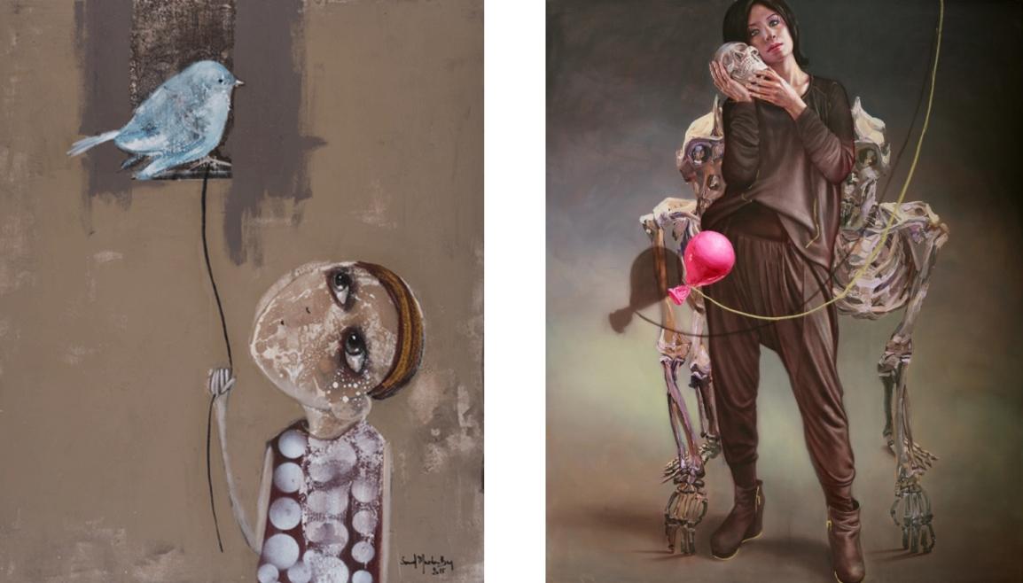 (1) Artwork by Souad Mardam Bey - (2) Artwork by Sara Shamma